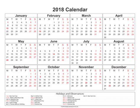 Printable Year Calendar 2018 With Holidays | free printable calendar 2018 with holidays in word excel pdf