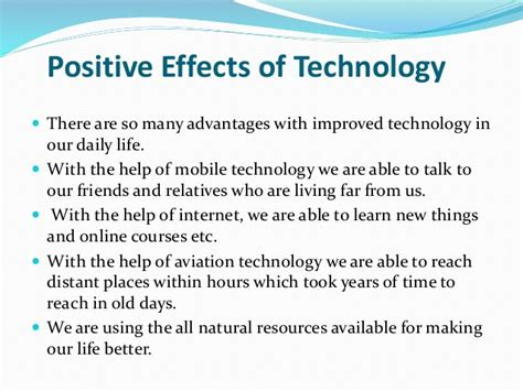 affect of modern technology on training technology 14 e commerce water pollution positive and negative effect