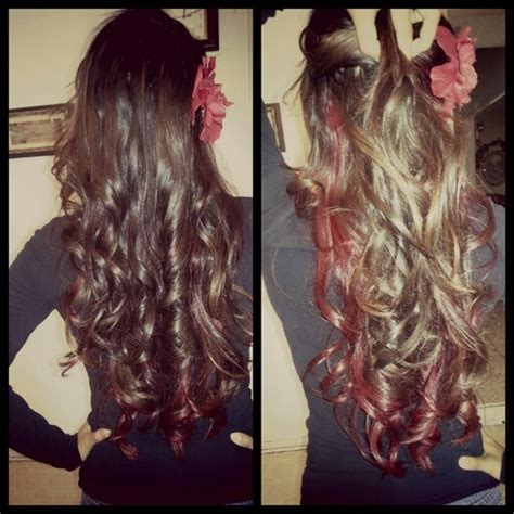 brown with red underneath hair curled hair with red underneath original pinterest