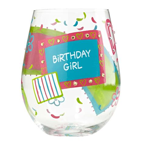 birthday glass birthday wine glass by