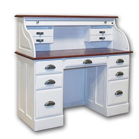White Roll Top Desk Solid Wood 7 Drawer White Roll Roll Top Office Desk