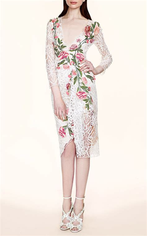floral applique floral applique lace dress by marchesa moda operandi