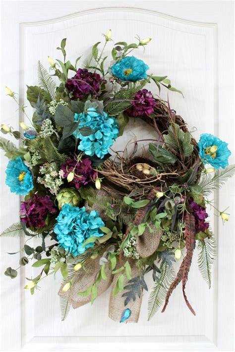 spring wreaths for door front door wreath spring wreath bird nest burlap wreath