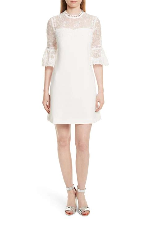 lace midi sleeve a line dress chic lace a line dresses for wedding guests