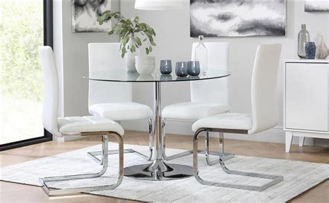 glass dining table with white chairs orbit glass chrome dining table with 4 perth white