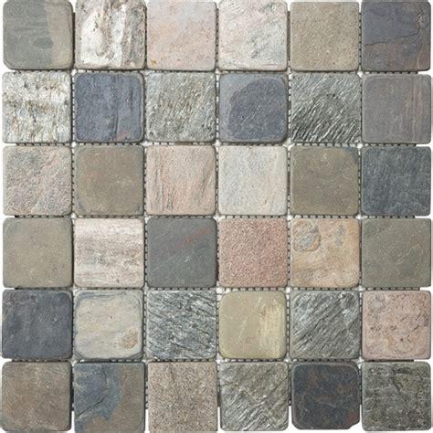 anatolia tile multi color tumbled slate uniform squares mosaic slate wall tile