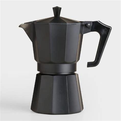Teko Kopi Espresso Pot 6 Cup Black Matte 6 Cup Stovetop Moka Pot Espresso Maker World Market