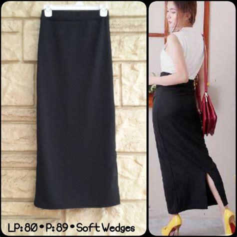 Rok Hitam Untuk Kerja rok panjang span hitam wanita cewek formal elevenia