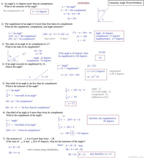 Angles Word Problems Worksheet by Math Plane Word Problems