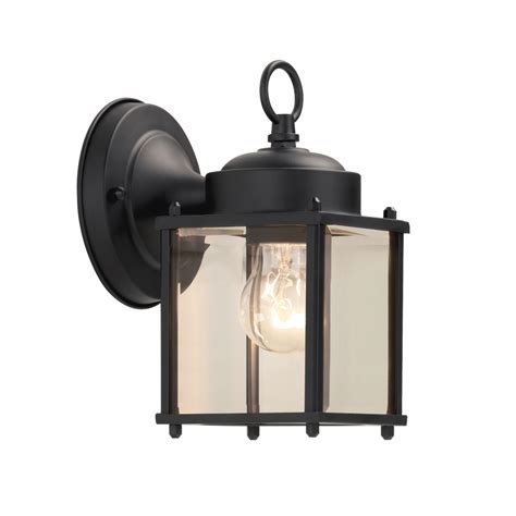 Outdoor Lighting Lowes by Shop Portfolio 8 25 In H Black Outdoor Wall Light At Lowes