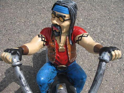 Harley Davidson Motorrad Figur by Biker Harley Davidson Gartenfigur Motorrad Fahrer