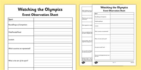 watching the olympics event observation sheet olympics