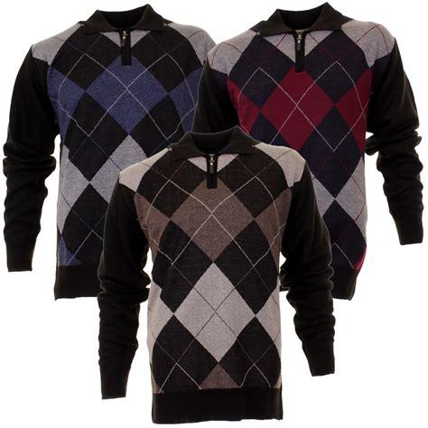 diamond pattern golf jumper mens pierre roche 1 4 zip argyle golf knitted jumper blue