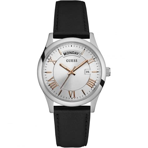 By Guess Date Black by Guess S Merger Black Leather Day Date Watches