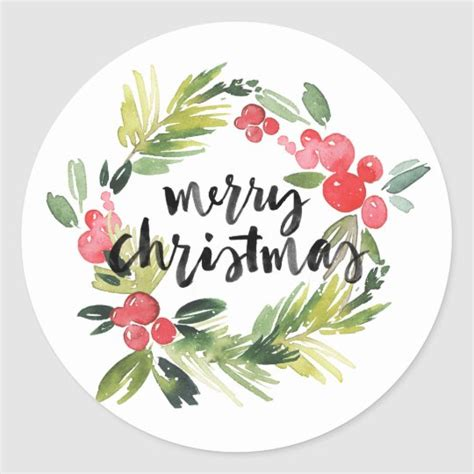watercolor holly wreath merry christmas sticker zazzlecom
