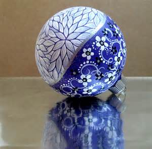 purple white hand painted christmas ornament