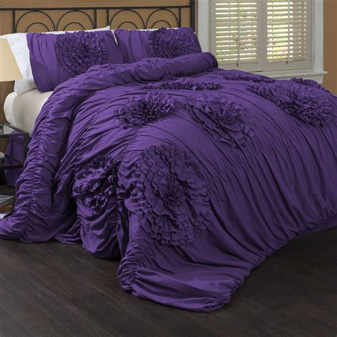 Black And Purple Bed Set Black And Purple Comforter Sets Furnitureteams