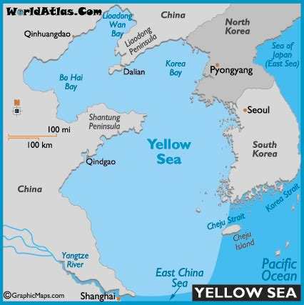 yellow sea map and map of the yellow sea size depth