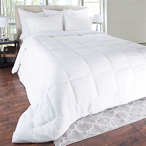 bed bath beyond down comforter sherpa oversized down alternative comforter in white bed