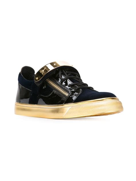 gold sneakers for giuseppe zanotti zip detail low sneakers in gold for