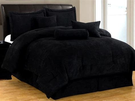 new bed in a bag solid black suede comforter set twin