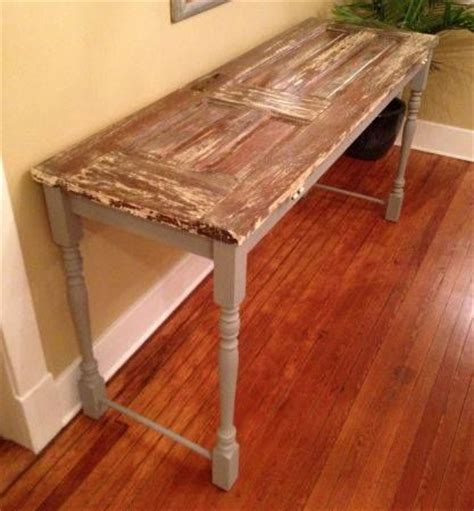 repurposed door sofa table for basement bar height table