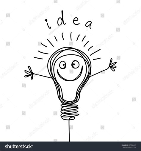 doodle or sign up genius vector light bulb icon smiling stock vector 605848127