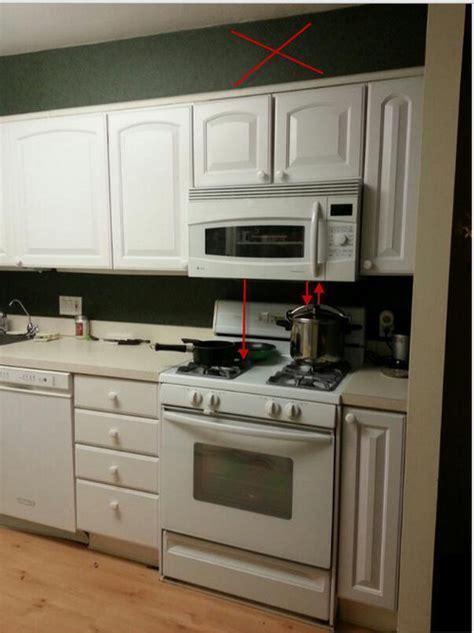 Proper distance between microwave and range top?