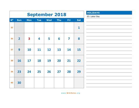 september 2018 calendar excel printable template