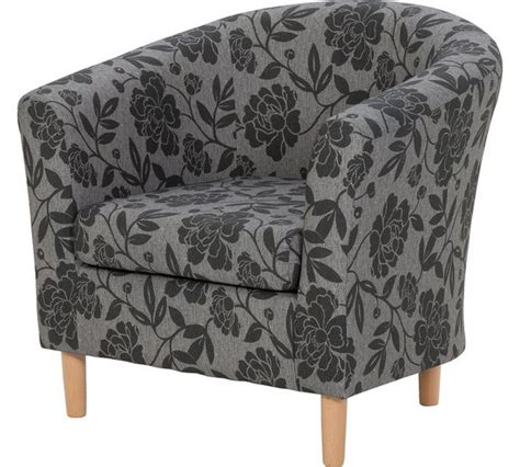 buy home floral fabric tub chair charcoal at argos co uk
