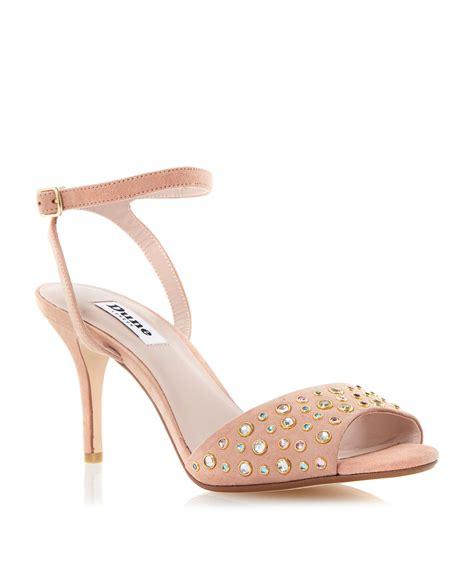 dune heels sandals dune hepburnn jewelled mid heel sandals in beige lyst