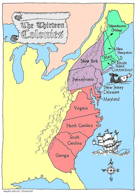thirteen colonies map   3rd quarter Student Teaching