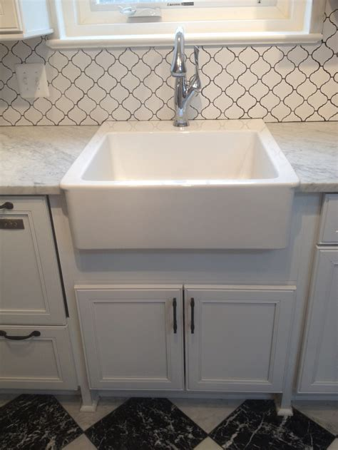farm sink with backsplash finished ikea farmhouse sink and brizo faucet backsplash is at lowes the marble and ikea