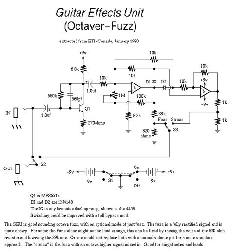 guitar circuits and schematics fuzzi s and other effects