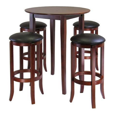 bar stools tables amazon com winsome fiona 5 piece round high pub table set