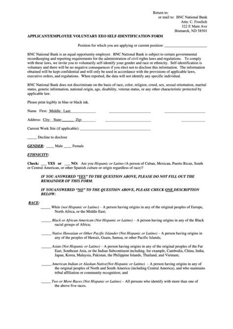 Voluntary Application Eeo Self Identification Form Affirmative Voluntary Self Identification Form Template