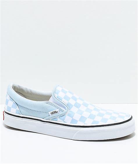 Vans Slip On Baby Blue White Checkered Skate Shoes Zumiez