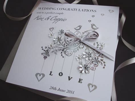 Handmade Wedding Cards Uk - handmade wedding card birds handmade cards pink posh