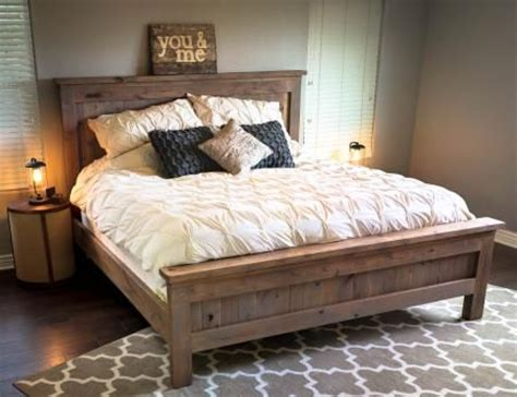 do it yourself bed frame farmhouse king bed knotty alder and grey stain do it