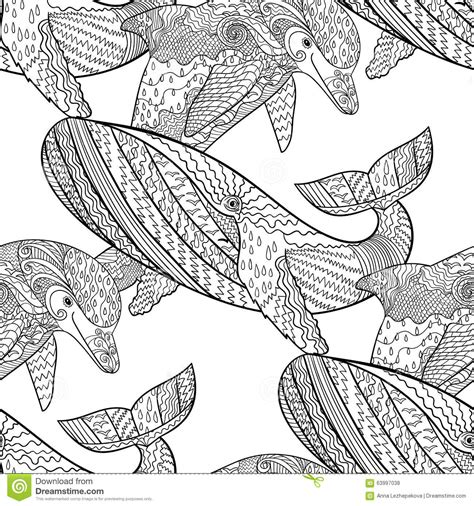 zentangle tile template oceanic animal zentangle seamless pattern stock vector