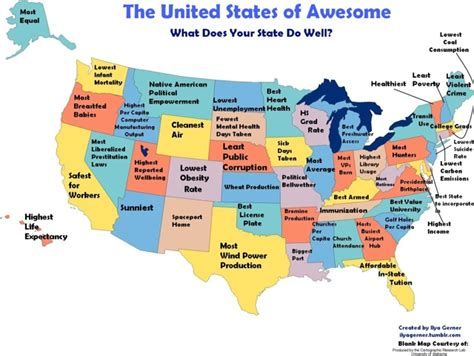 all states in usa the united states of awesome what each state does well