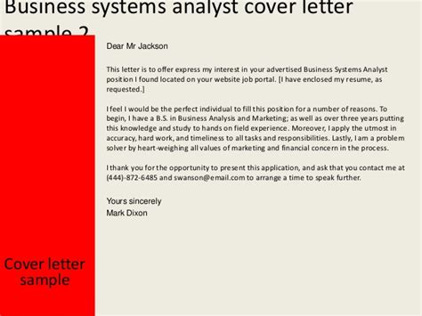cover letter system analyst business systems analyst cover letter