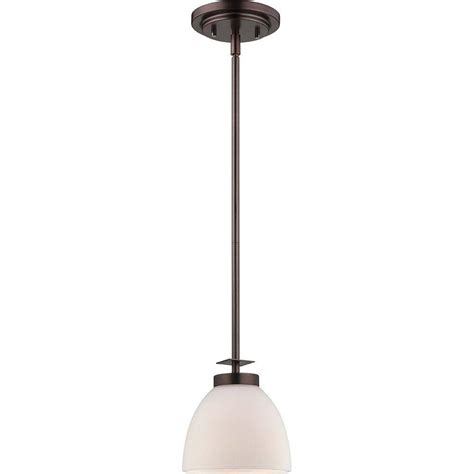 Frosted Glass Pendant Light Shade Illumine 1 Light Hazel Bronze Mini Pendant With Frosted Glass Shade Hd 5115 The Home Depot