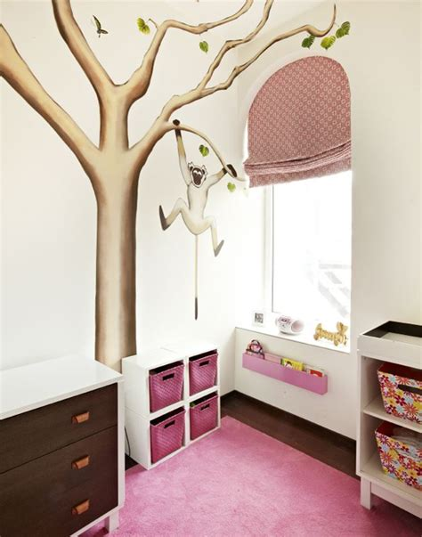 pink and brown nursery wall decor nursery with monkey in tree wall mural contemporary