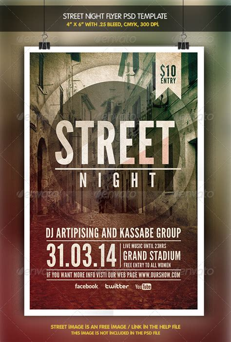 Street Night Flyer Template By Zacomic Graphicriver St Photoshop Template