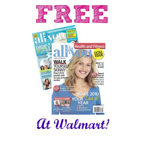 All You Magazine Sweepstakes - hot free issue of all you magazine at walmart