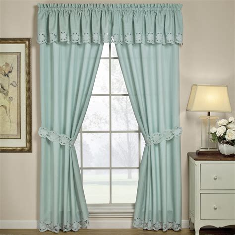 white window drapes white wooden kitchen window with blue curtain and valance