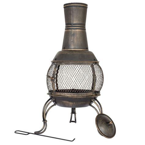 outdoor chiminea la hacienda medium steel chiminea bronze fireplaces chimineas travel outdoor gmv trade