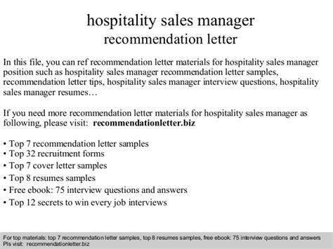 cover letter hospitality sle hospitality sales manager recommendation letter