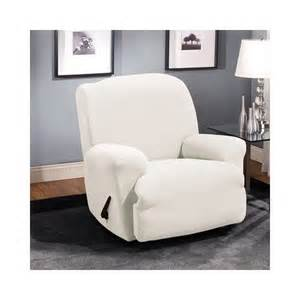 amazon com sure fit stretch stone 1 piece recliner slipcover white armchair slipcovers